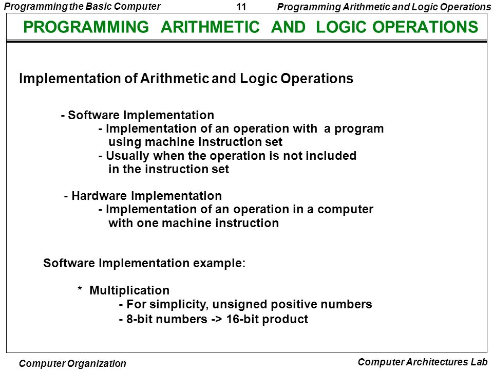 PROGRAMMING ARITHMETIC AND LOGIC OPERATIONS
