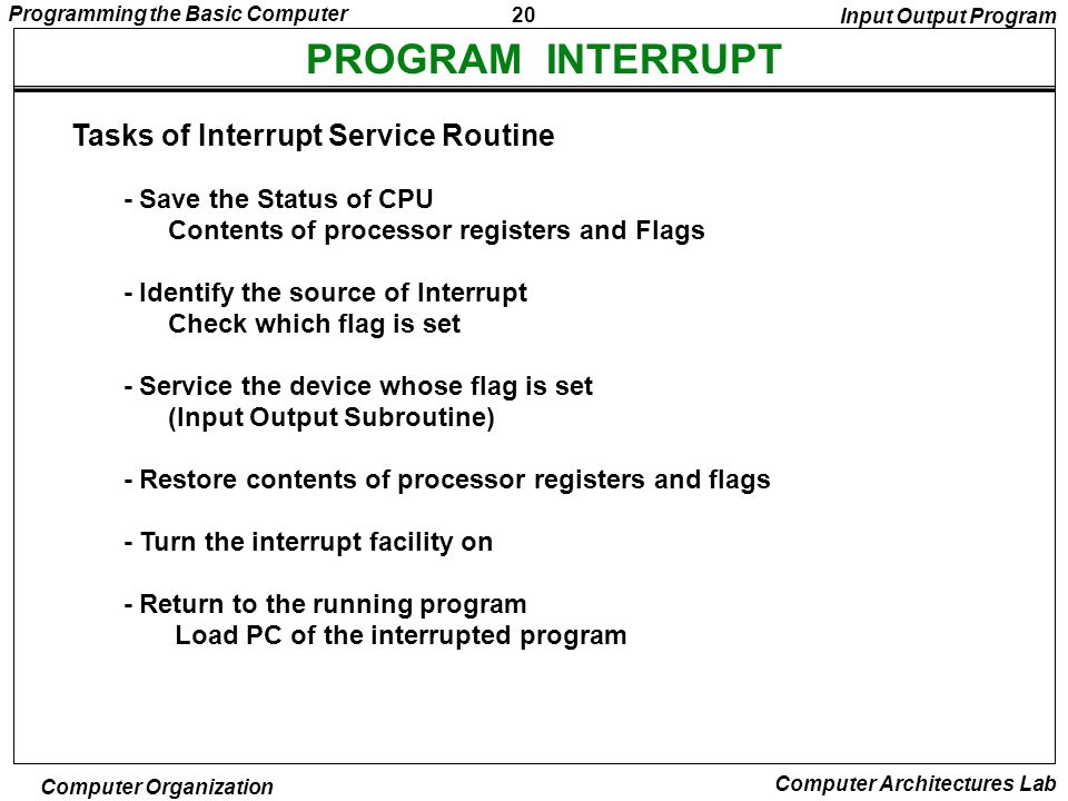 PROGRAM INTERRUPT Tasks of Interrupt Service Routine