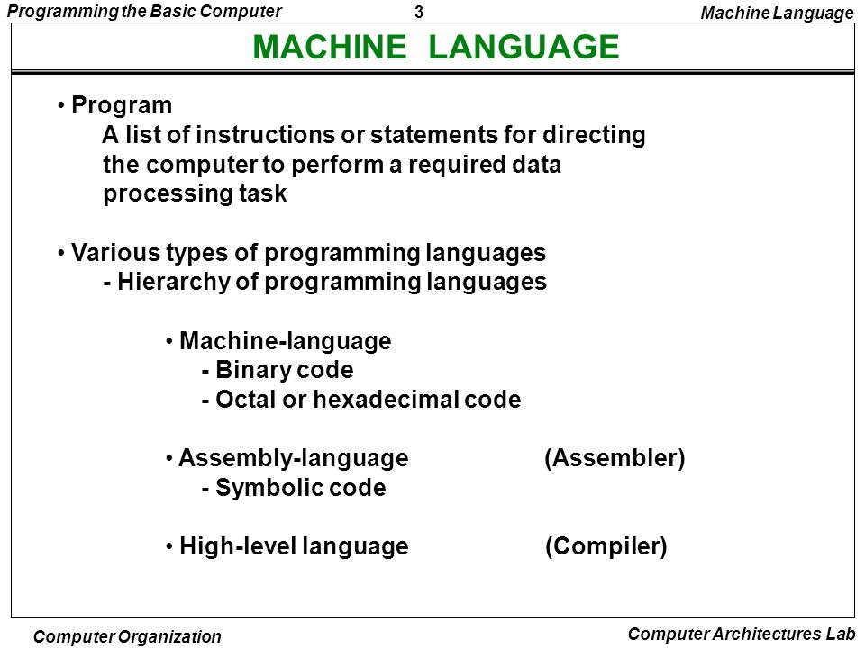 MACHINE LANGUAGE Program