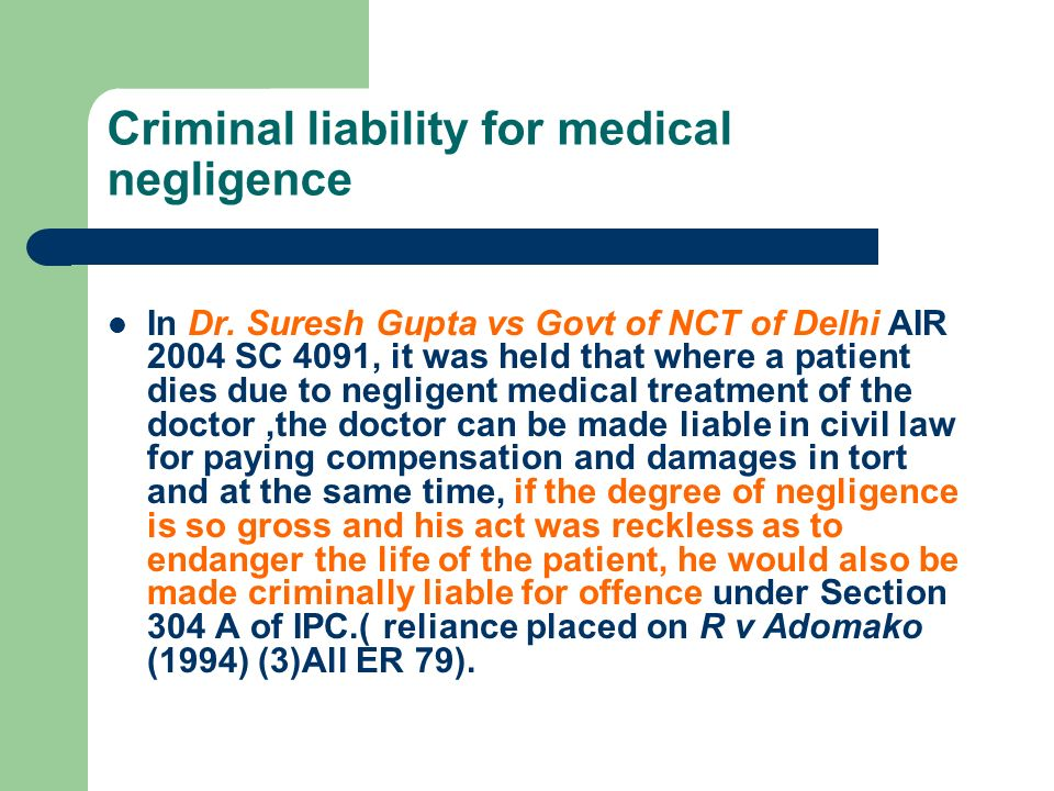 Criminal liability for medical negligence