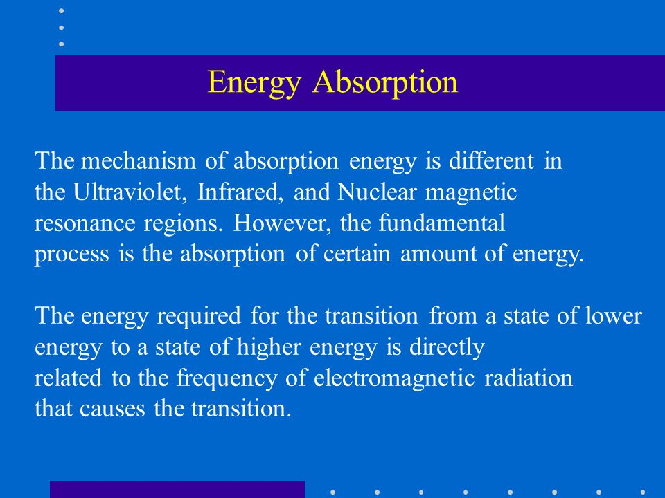Energy Absorption The mechanism of absorption energy is different in