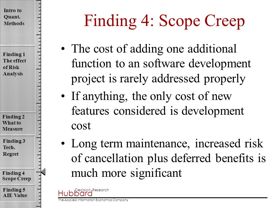 Finding 4: Scope Creep The cost of adding one additional function to an software development project is rarely addressed properly.