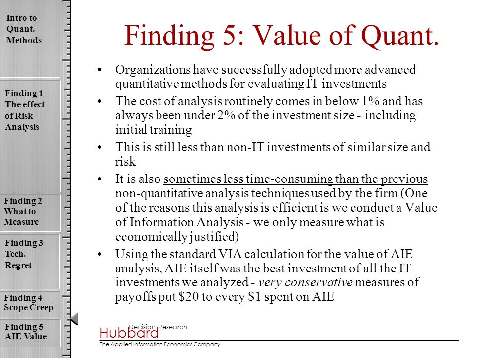 Finding 5: Value of Quant.