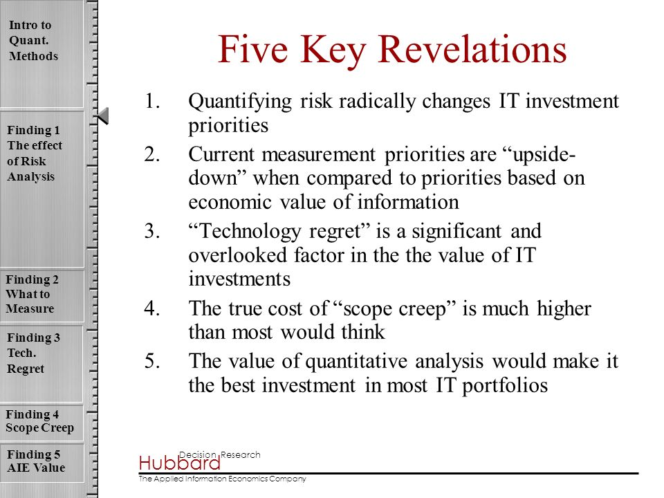 Five Key Revelations Quantifying risk radically changes IT investment priorities.
