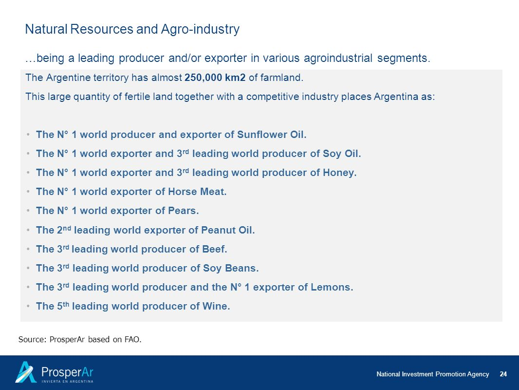 Natural Resources and Agro-industry …being a leading producer and/or exporter in various agroindustrial segments.