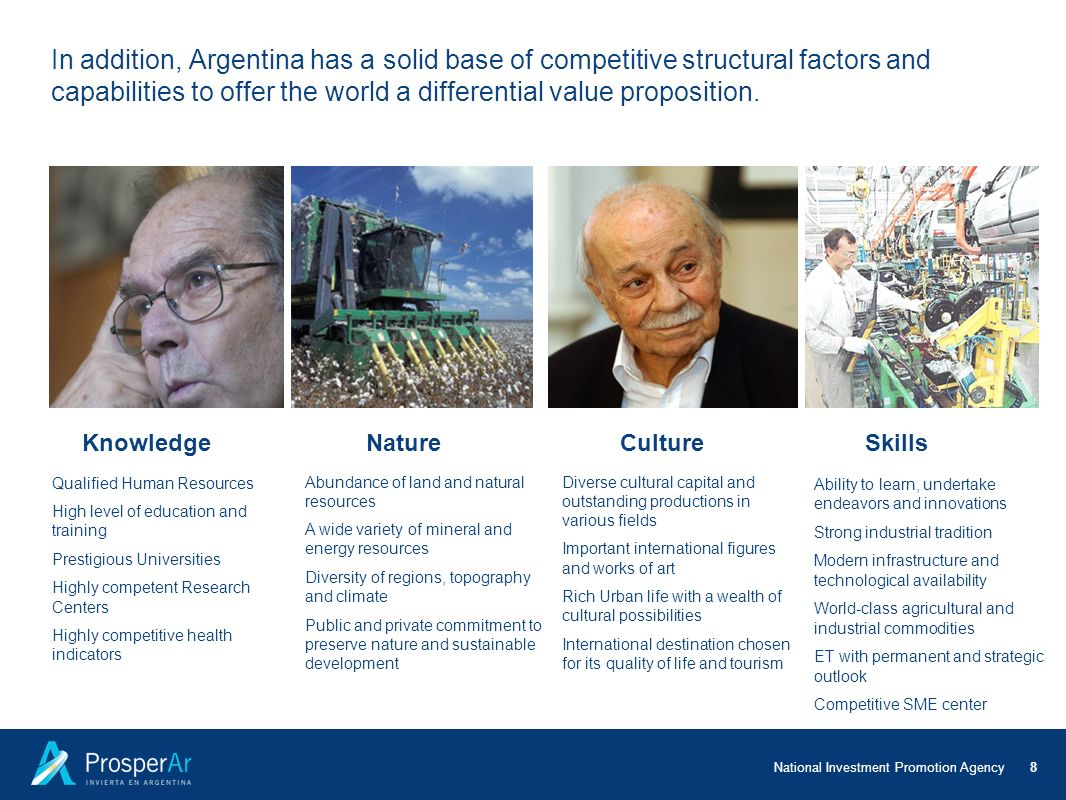 In addition, Argentina has a solid base of competitive structural factors and capabilities to offer the world a differential value proposition.