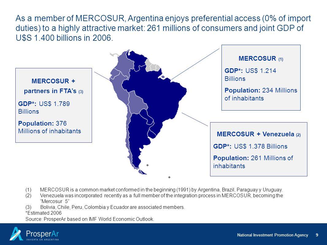 MERCOSUR + partners in FTA's (3) MERCOSUR + Venezuela (2)