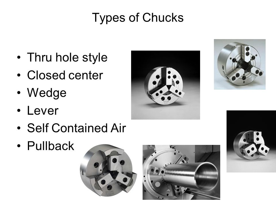 Types of Chucks Thru hole style Closed center Wedge Lever Self Contained Air Pullback