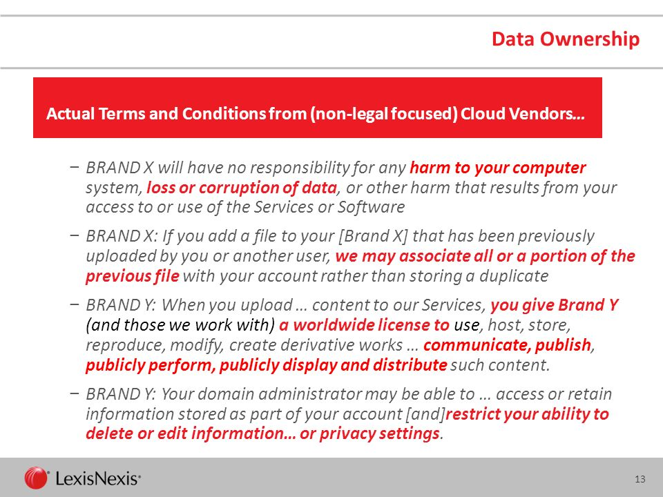 Data Ownership Actual Terms and Conditions from (non-legal focused) Cloud Vendors…