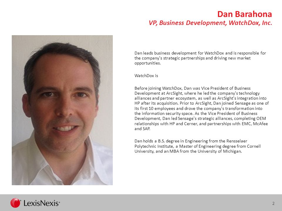 Dan Barahona VP, Business Development, WatchDox, Inc.