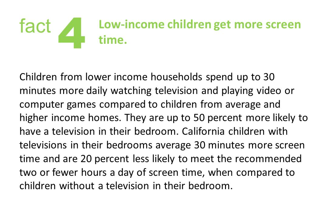 Low-income children get more screen time.