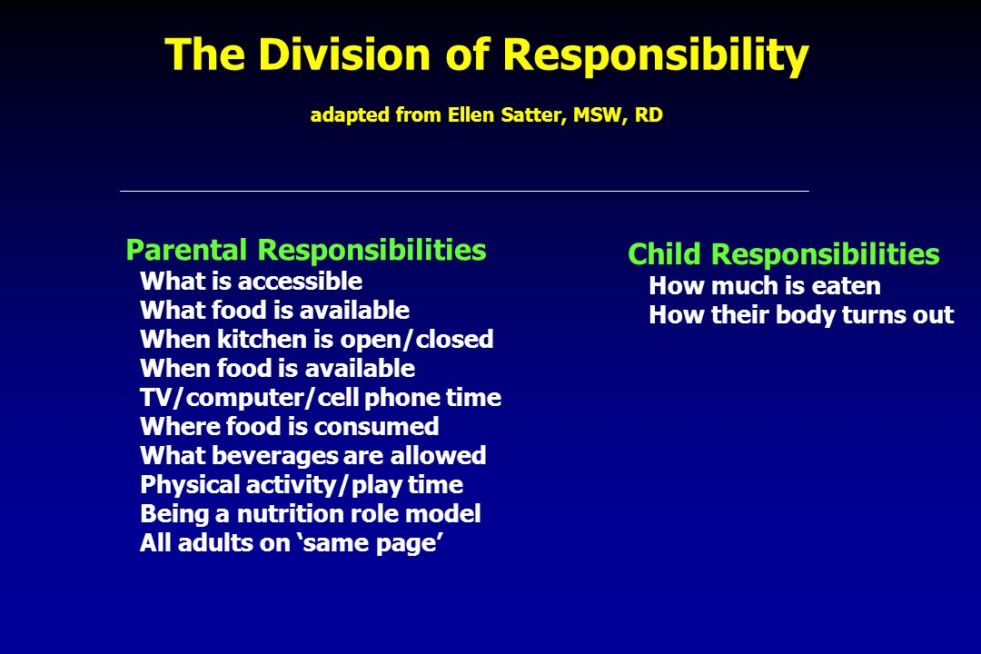 The Division of Responsibility adapted from Ellen Satter, MSW, RD