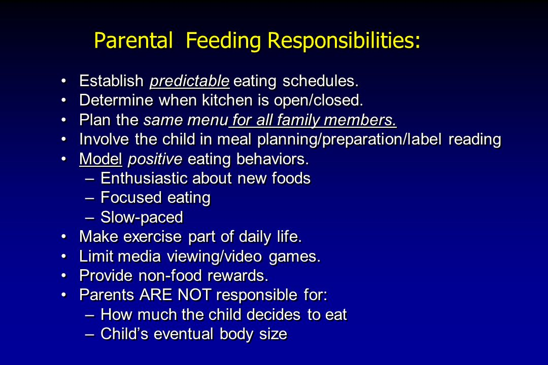 Parental Feeding Responsibilities:
