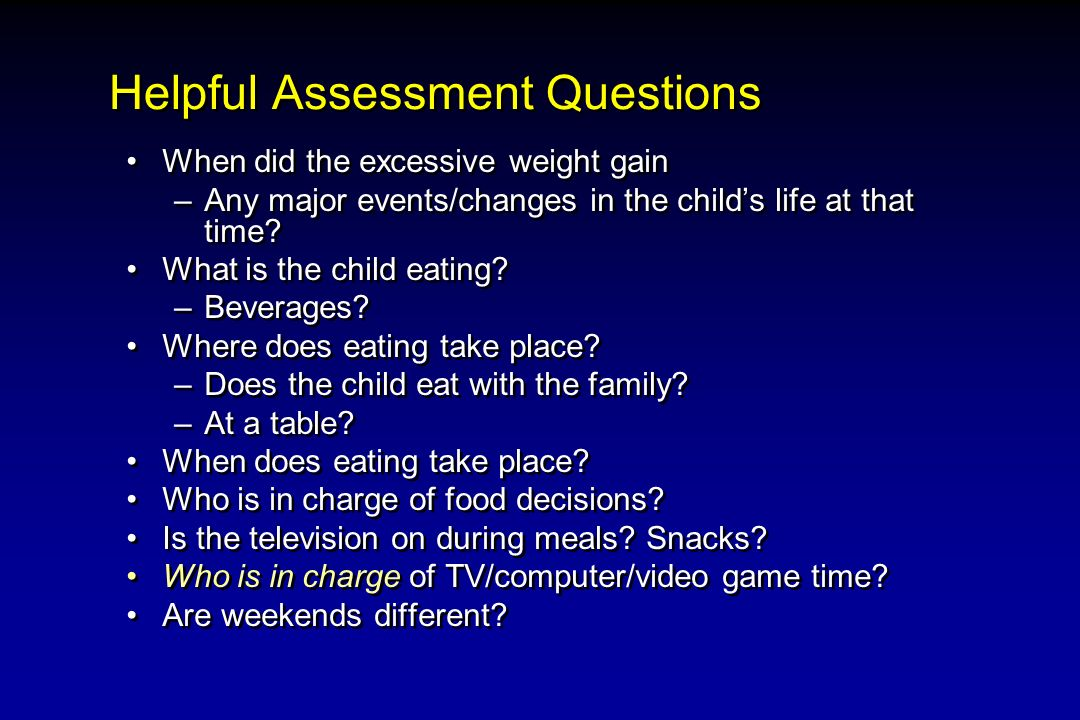 Helpful Assessment Questions