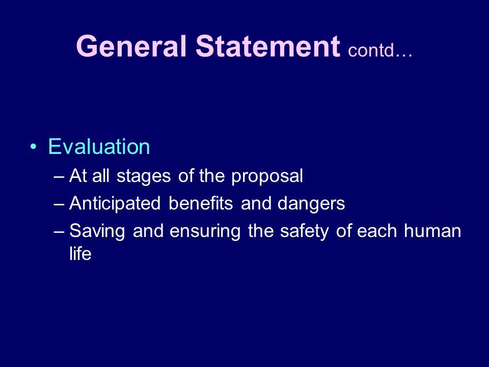 General Statement contd…