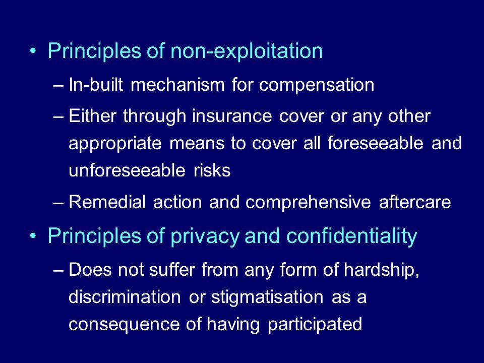 Principles of non-exploitation
