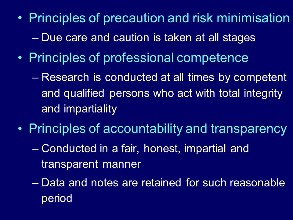 Principles of precaution and risk minimisation
