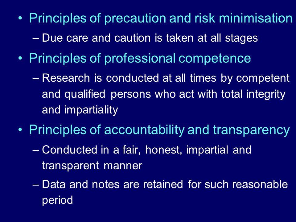 Principles of precaution and risk minimisation