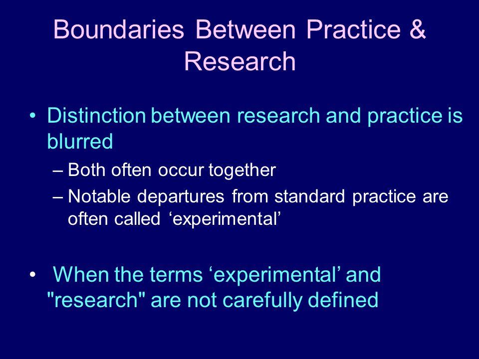 Boundaries Between Practice & Research