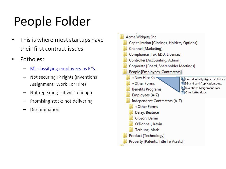 People Folder This is where most startups have their first contract issues. Potholes: Misclassifying employees as IC's.