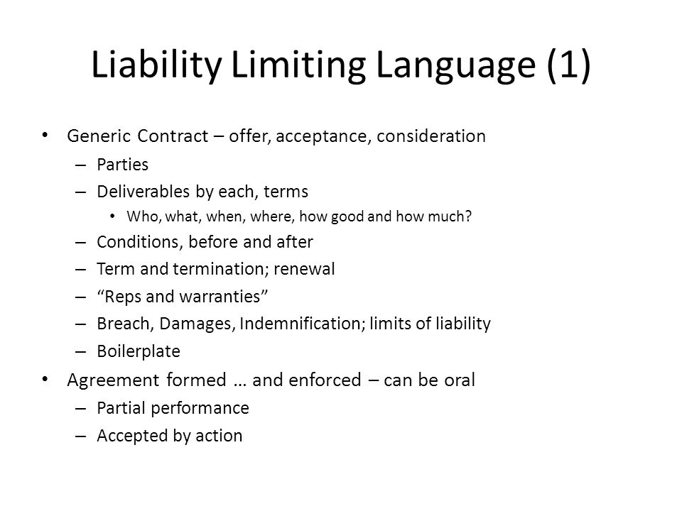 Liability Limiting Language (1)
