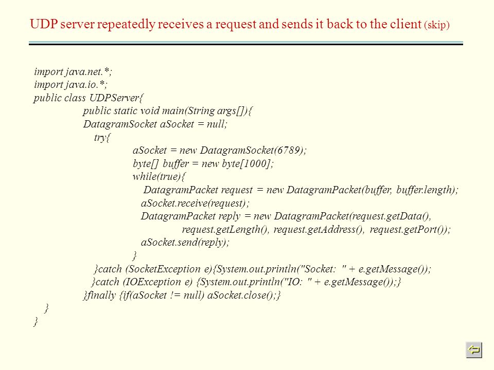UDP server repeatedly receives a request and sends it back to the client (skip)