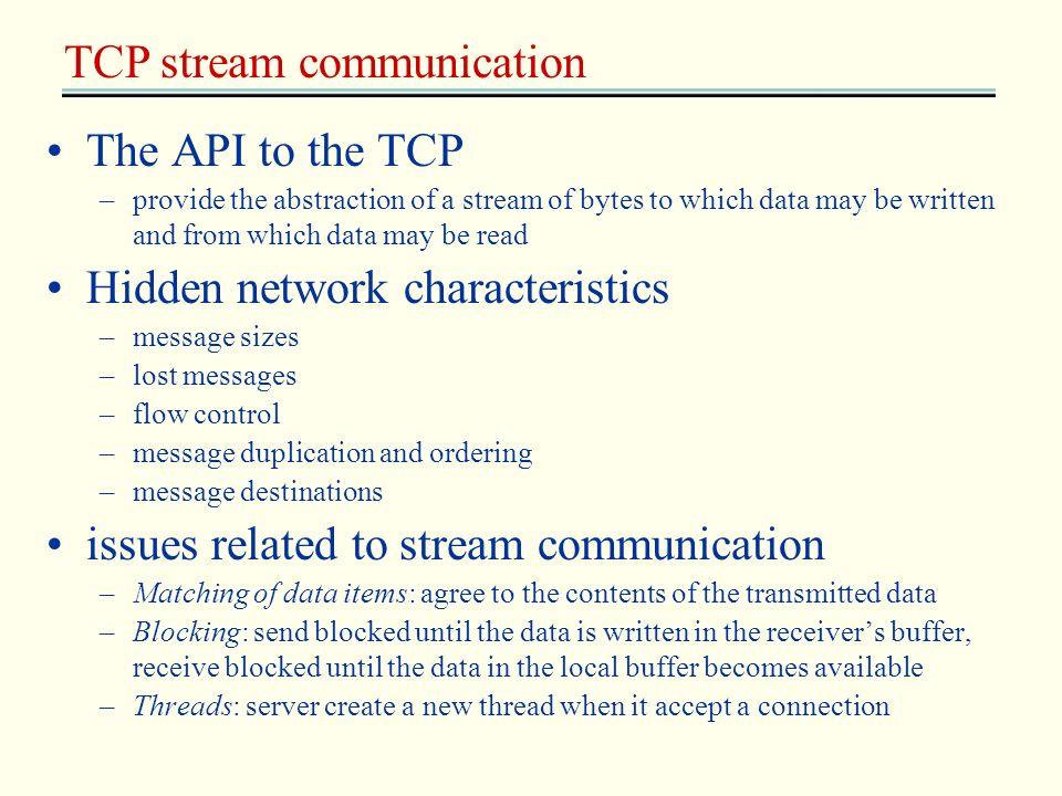 TCP stream communication