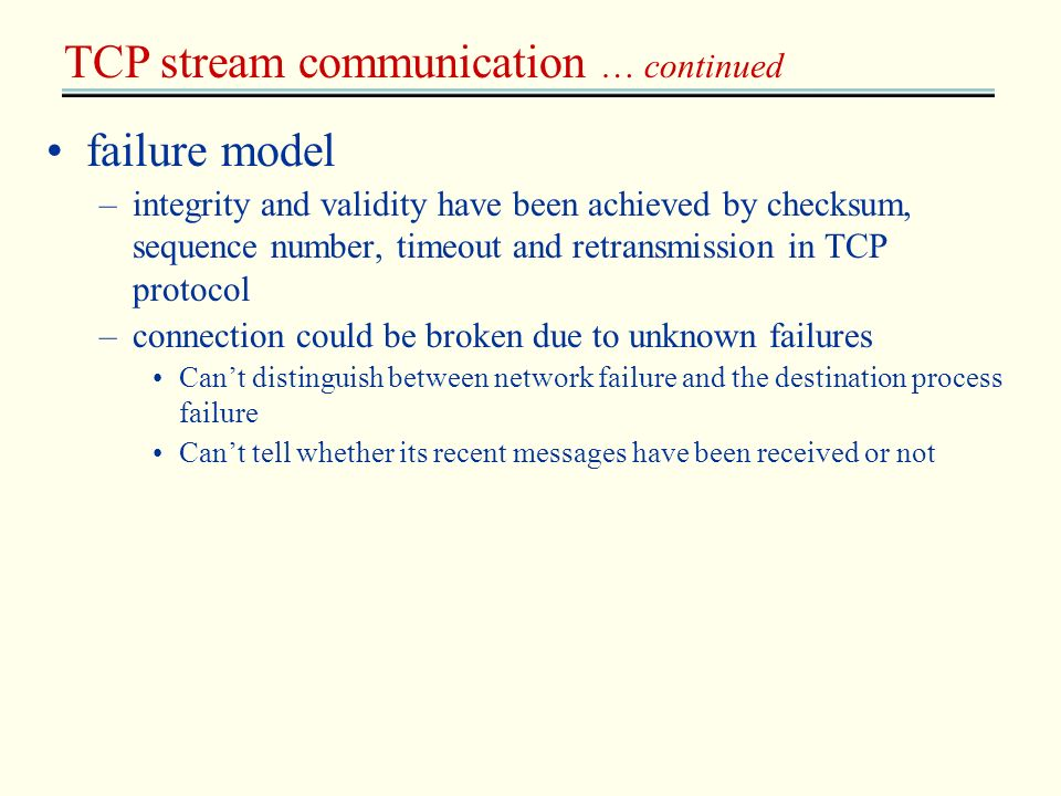 TCP stream communication … continued