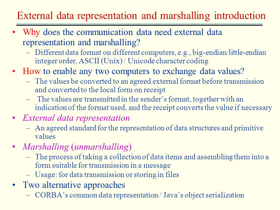 External data representation and marshalling introduction