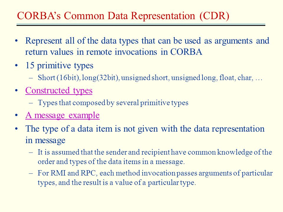 CORBA's Common Data Representation (CDR)