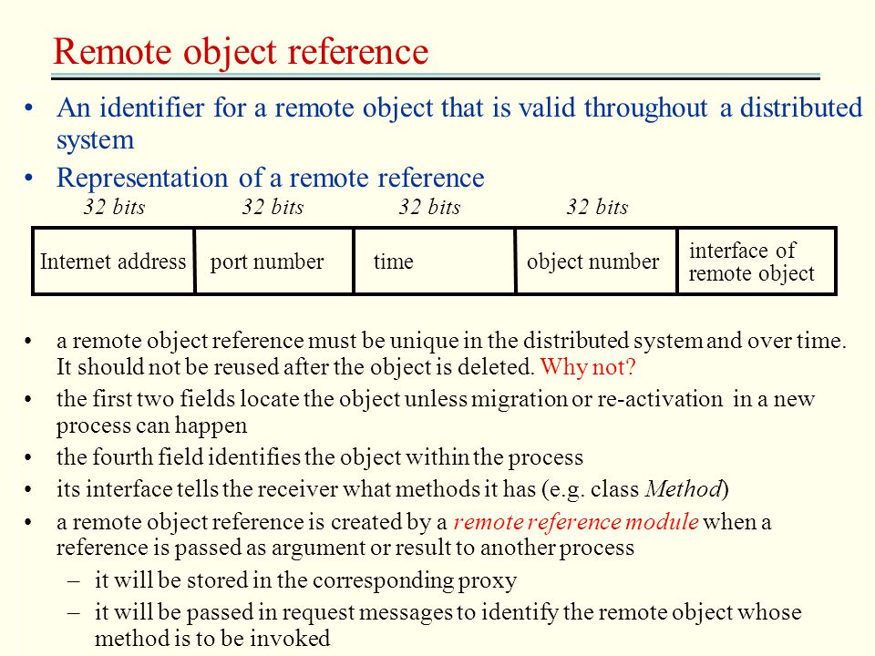 Remote object reference