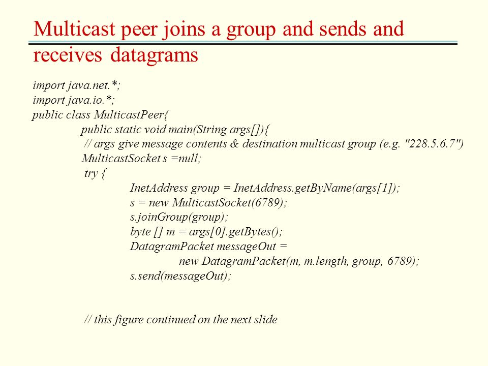 Multicast peer joins a group and sends and receives datagrams