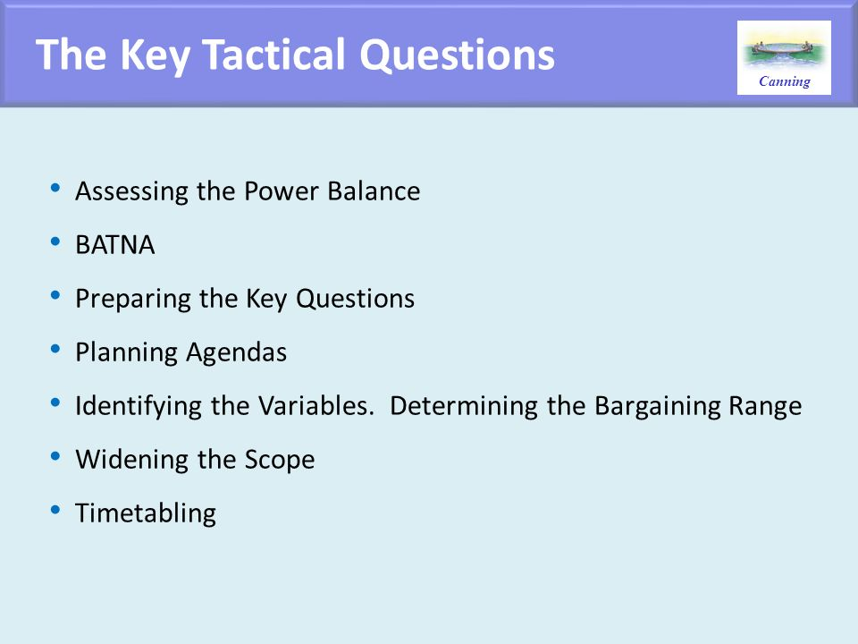 The Key Tactical Questions