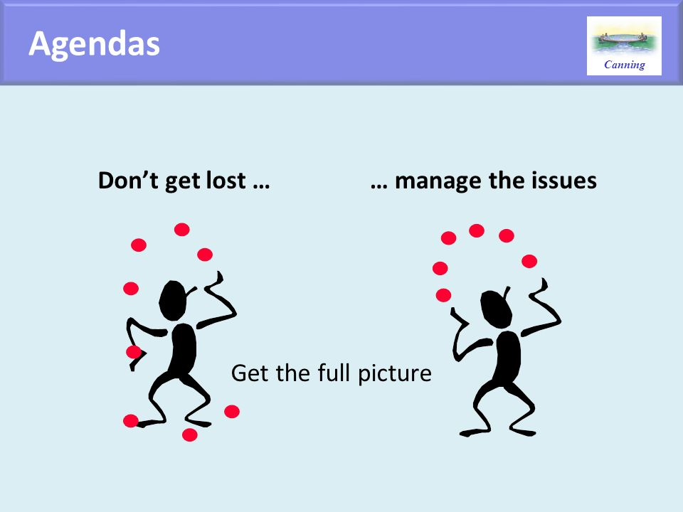 Agendas Don't get lost … … manage the issues Get the full picture