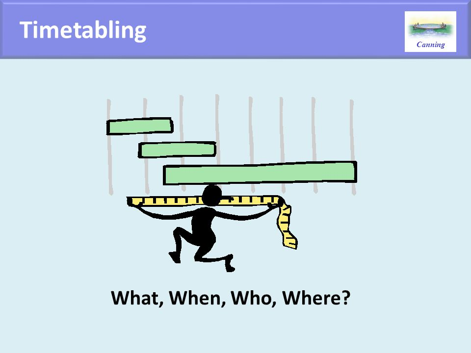 Timetabling What, When, Who, Where
