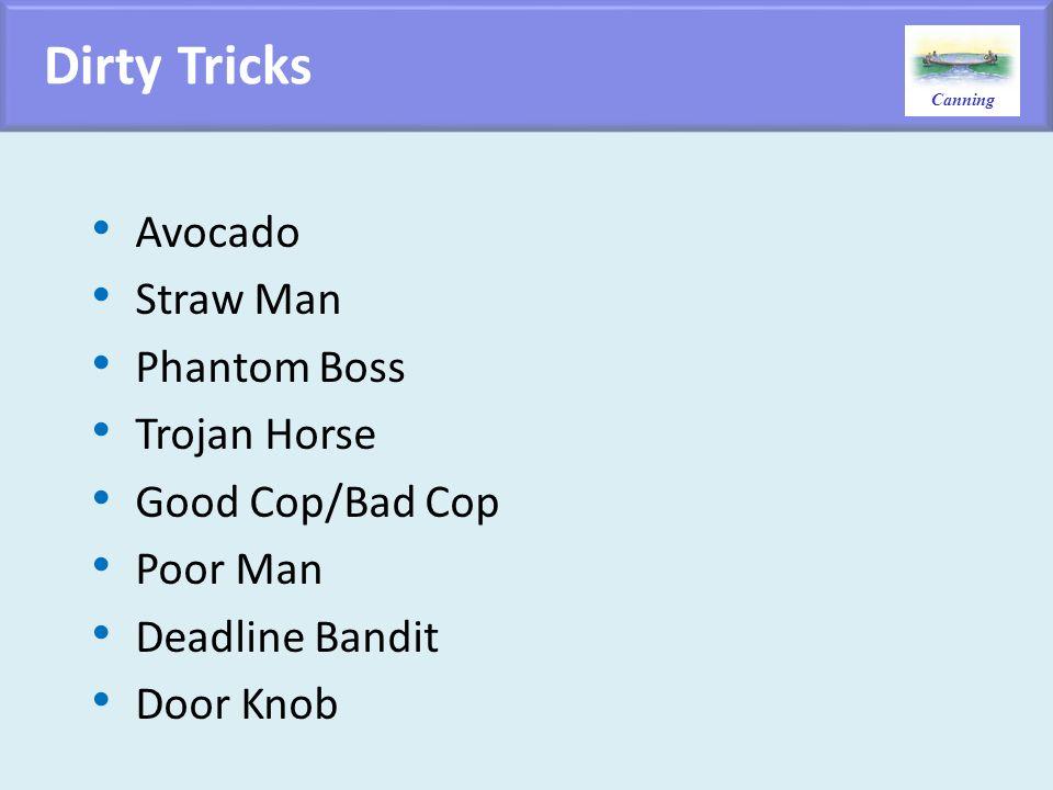 Dirty Tricks Avocado Straw Man Phantom Boss Trojan Horse