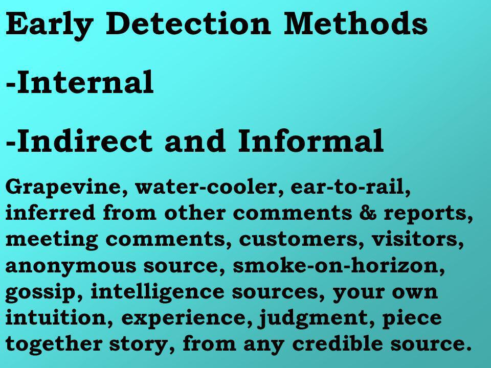 Early Detection Methods -Internal -Indirect and Informal