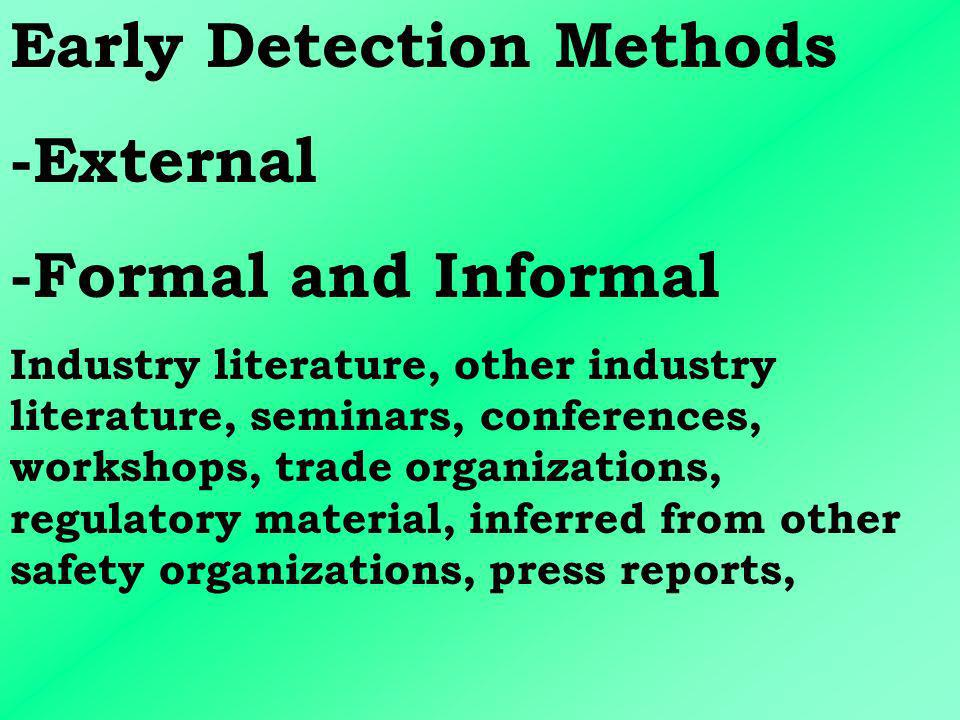 Early Detection Methods -External -Formal and Informal