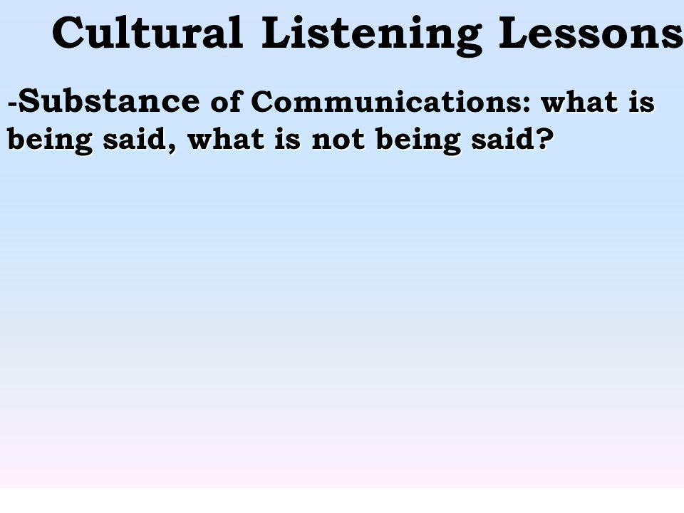 Cultural Listening Lessons