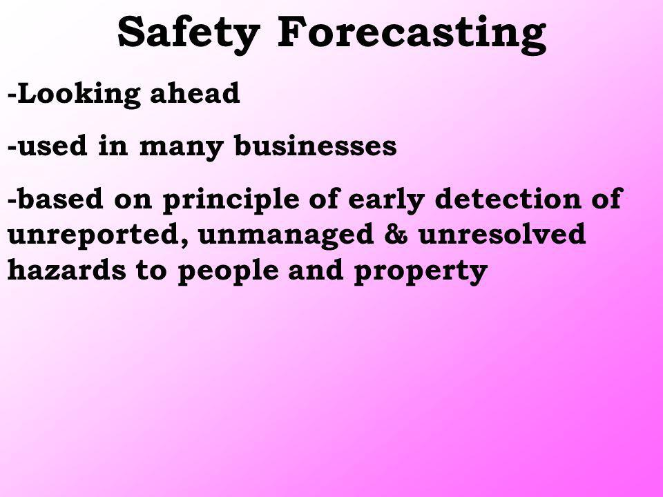 Safety Forecasting -Looking ahead -used in many businesses