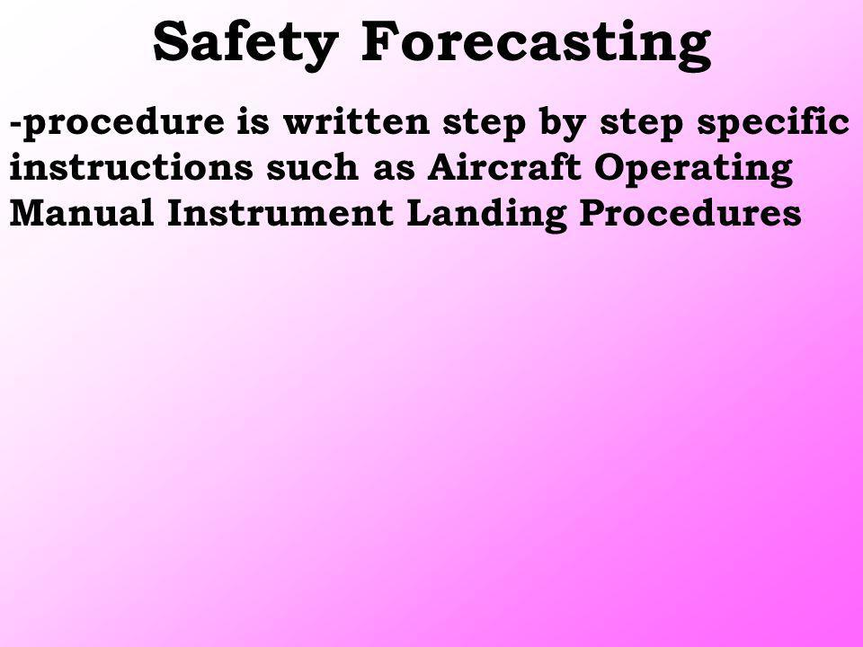 Safety Forecasting -procedure is written step by step specific instructions such as Aircraft Operating Manual Instrument Landing Procedures.