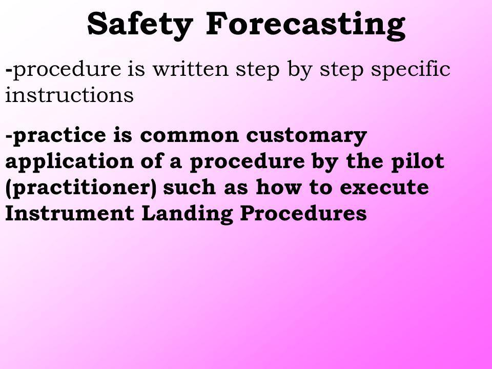 Safety Forecasting -procedure is written step by step specific instructions.