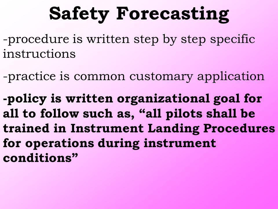 Safety Forecasting -procedure is written step by step specific instructions. -practice is common customary application.