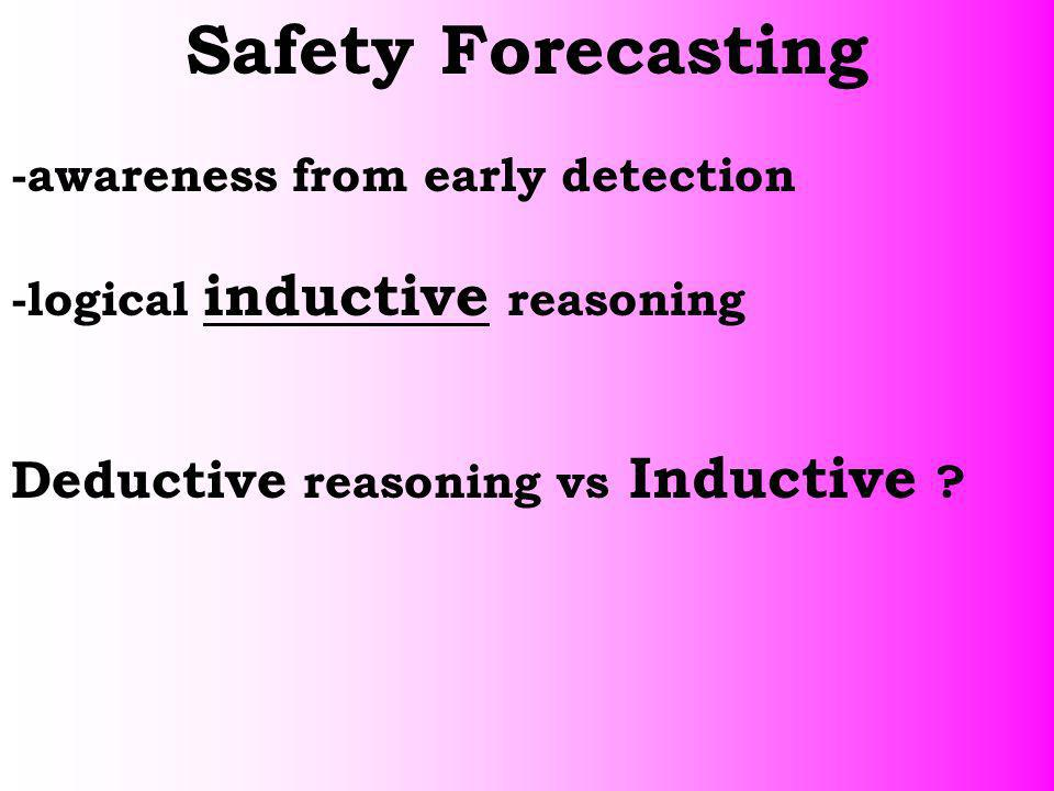 Safety Forecasting Deductive reasoning vs Inductive