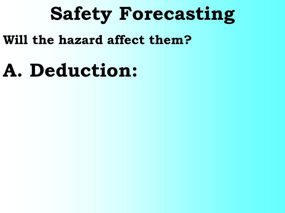 Safety Forecasting Will the hazard affect them A. Deduction: