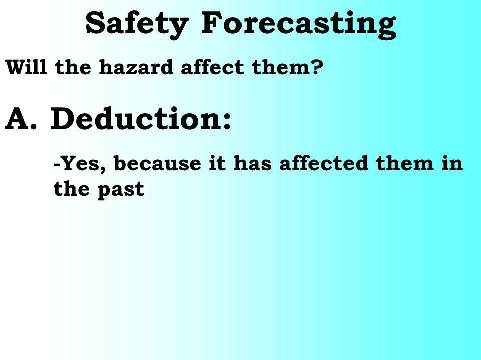 Safety Forecasting A. Deduction: Will the hazard affect them