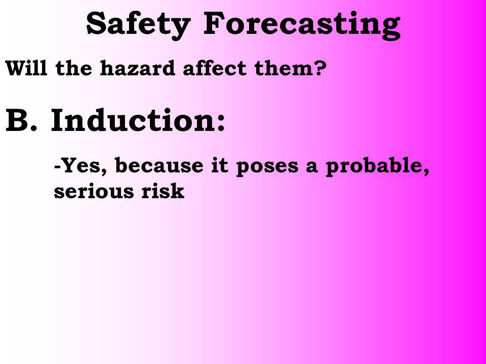 Safety Forecasting B. Induction: Will the hazard affect them