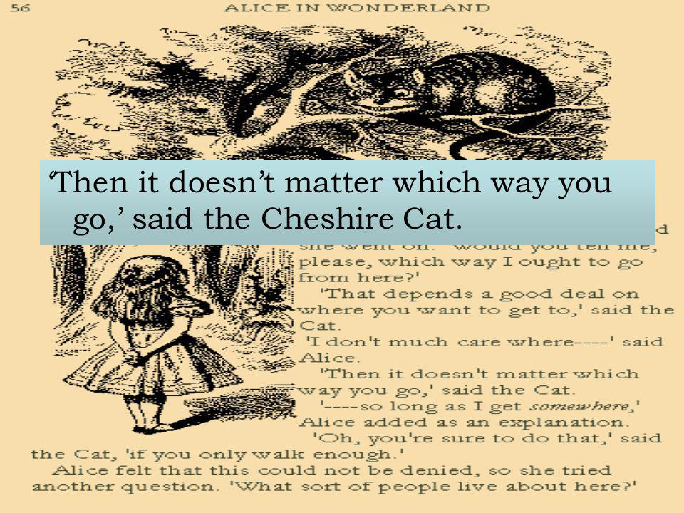 'Then it doesn't matter which way you go,' said the Cheshire Cat.