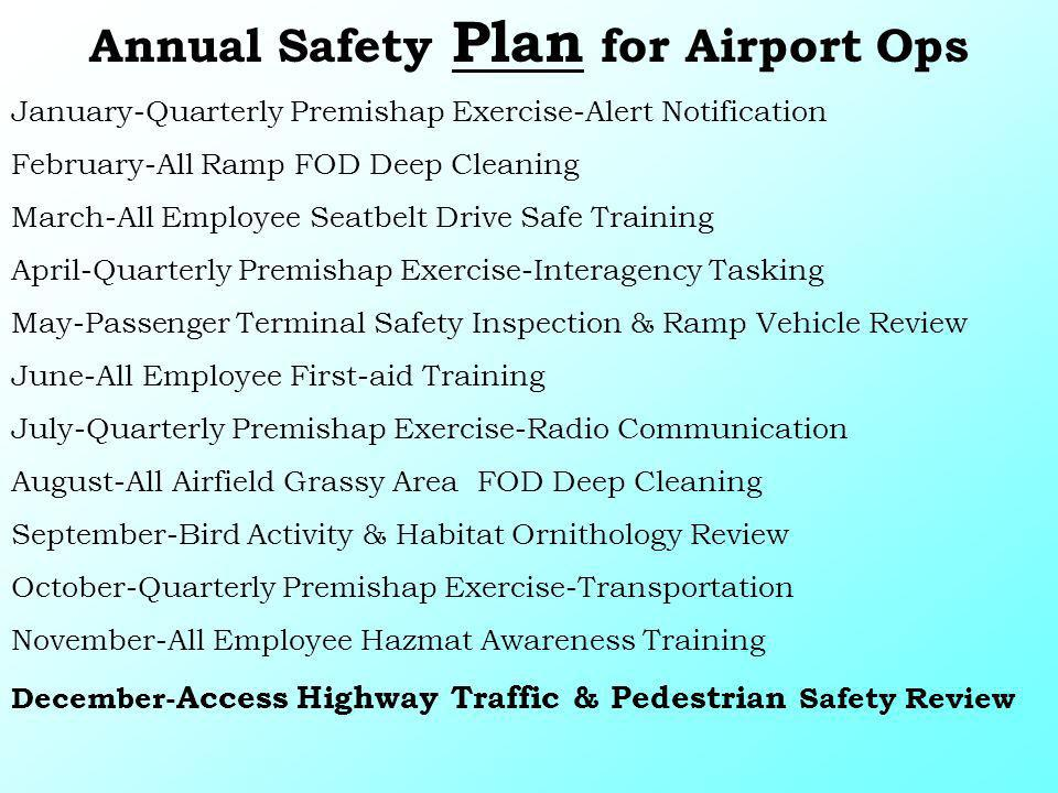 Annual Safety Plan for Airport Ops