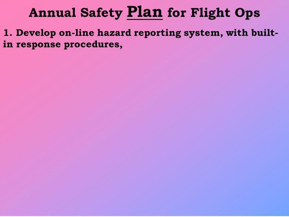 Annual Safety Plan for Flight Ops